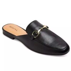 🌹 Merona Black Mules  gold buckle  10 👠